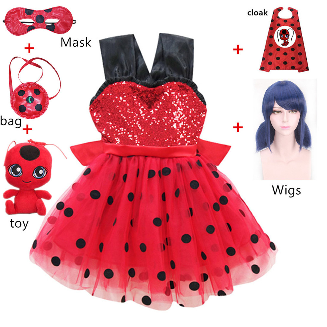 Carnival 2019 Girls clothing Ladybug cosplay Girls Dress Summer Clothes Lady bug birthday Dress moana Halloween Fancy dresses