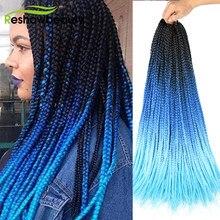 Caixa de tranças crochê trança cabelo 22 Polegada 10 raízes/pacote 2/3 tom ombre sintético crochê cabelo extensão reshowbeauty