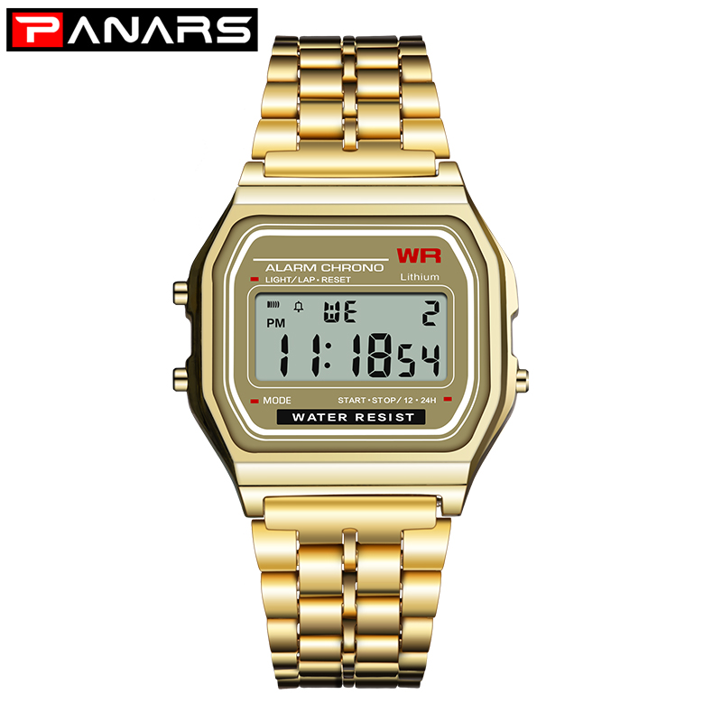 PANARS Watch Men Digital Steel Retro Square Electronic Watch Silver Gold Watches Mens Date Counting Luminous Multifunction Watch