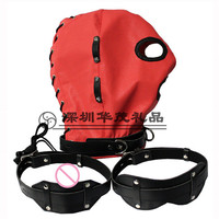 PU Leather BDSM Bondage Sex Mask Hood Toys Fetish Hood Headgear With Mouth Ball Gag Adult Games Product For Couples