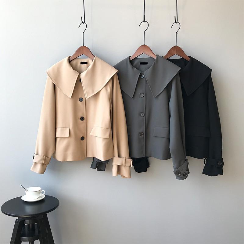 Mooirue Autumn   Basic     Jacket   Padded Slim Single Breasted Lapel Loose Short Casual   Jacket   Girls Coat