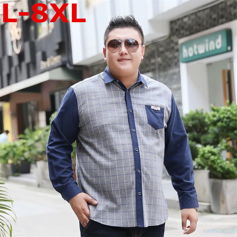 8XL Big Size  New Arrival Men's Shirt Long Sleeve Shirt Mens Dress Shirts Brand Casual Fashion Business Style Shirts Cotton