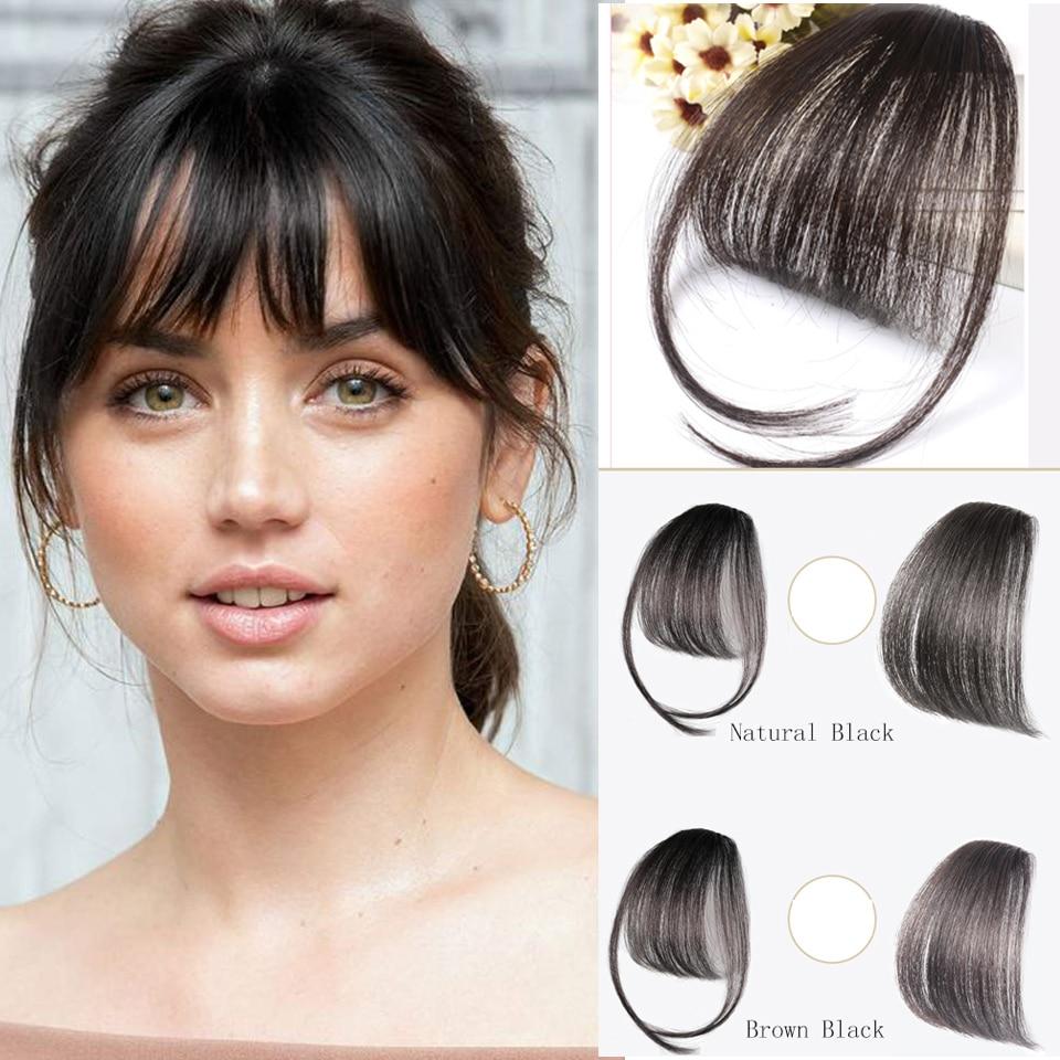 SHANGKE Short Synthetic Bangs Heat Resistant Hair Women Natural Short Fake Hair Bangs Women Hair Pieces
