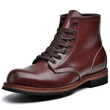 Soft PU Leather Men's Boots Autumn Winter Male Martin Boots Comfortable Round Toe Mens Shoes Botas 4#15/03D50