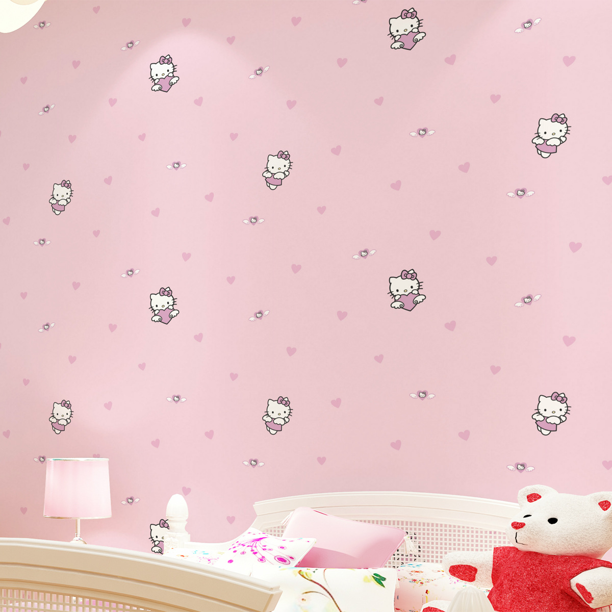 Hello Kitty Hello Kitty Wallpaper Cartoon KT Pink Princess CHILDREN'S Room GIRL'S Bedroom Non-woven Wallpaper