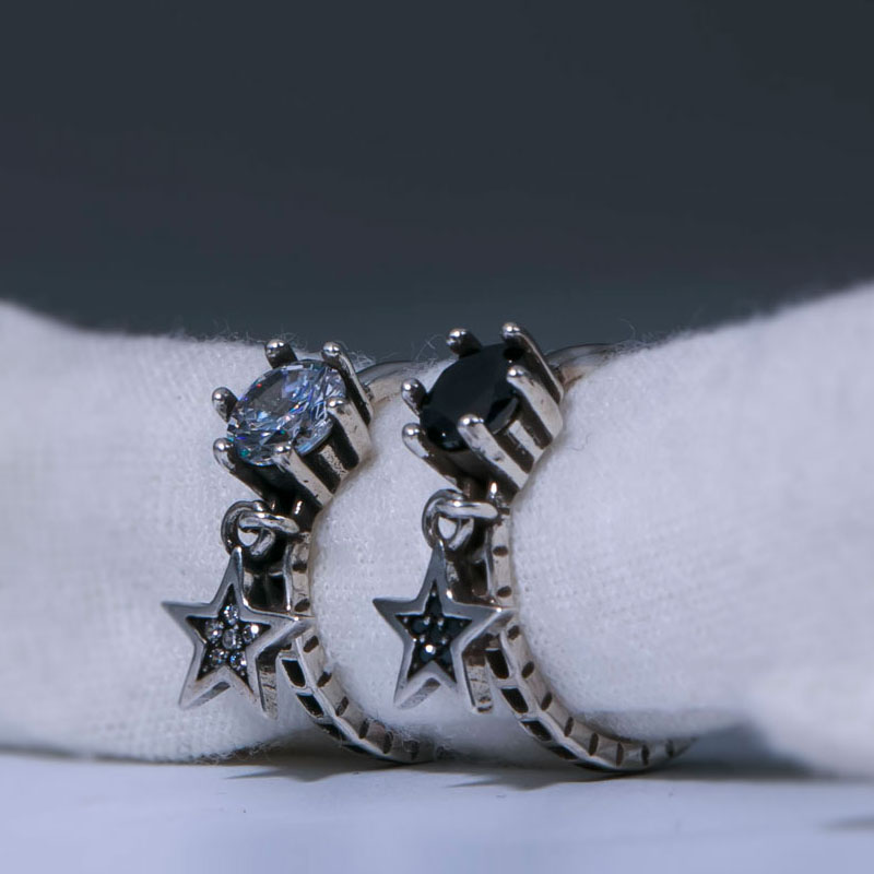 925 Sterling Silver Black White Zircon Ring Simple Lucky Star Hollow Twist Thai Silver Adjustable Ring For Women S-R377