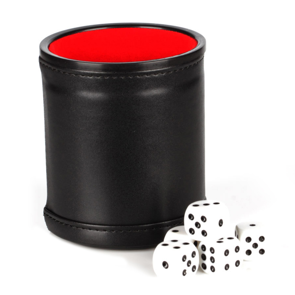 Dice Cup Set With 5 Dices PU Leather Stable Sturdy Comfortable Hand Feeling Dice Cup Set