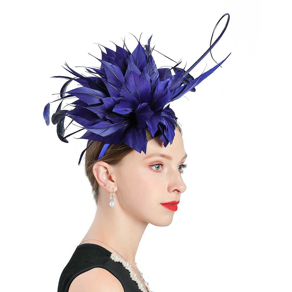Top Kwaliteit Bruids Blauw Tovenaar Natuurlijke Veer Hoed voor Kentucky Derby Kerk Wedding Party Cap Koninklijke Banket Hoofdtooi