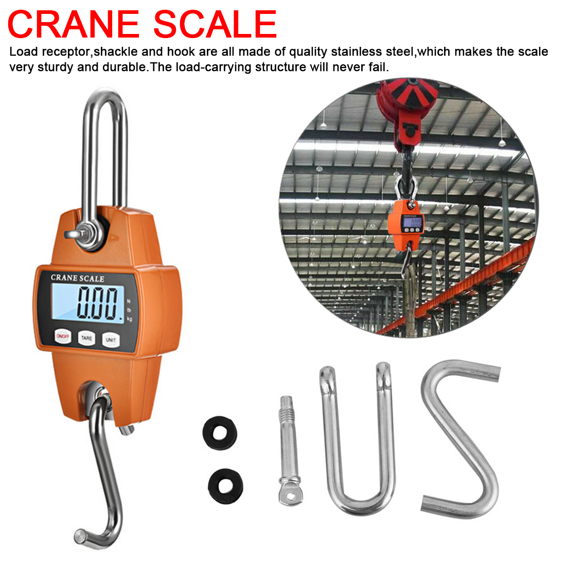 Mini Electronic Crane Scale Portable LCD Digital Hook Hanging Weight 300kg