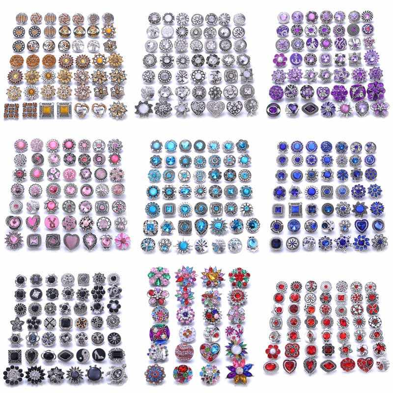 10 unids/lote nuevo 12MM 18mm Snap Jewelry strass Mini Metal Snap botones apto 12mm 18mm broche para brazalete pendientes collares