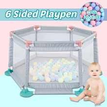 Baby Playpen Portable Fencing For Children Folding 6/8 Sides Panel Safety Fence Barriers with 10/50 balls Fence Guard Barriers(China)