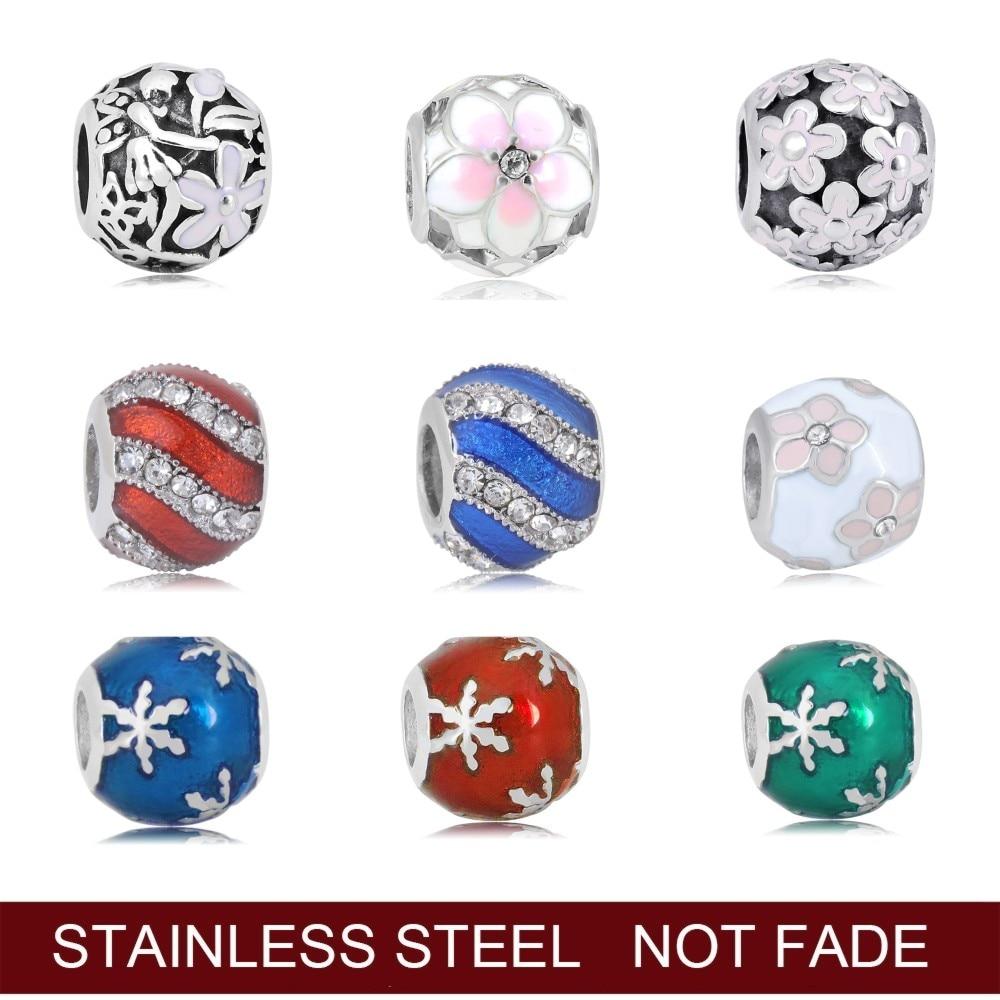 316L pendentifs en acier inoxydable perles pendentif forme Pandoras Bracelets pour femme bricolage faisant des bijoux