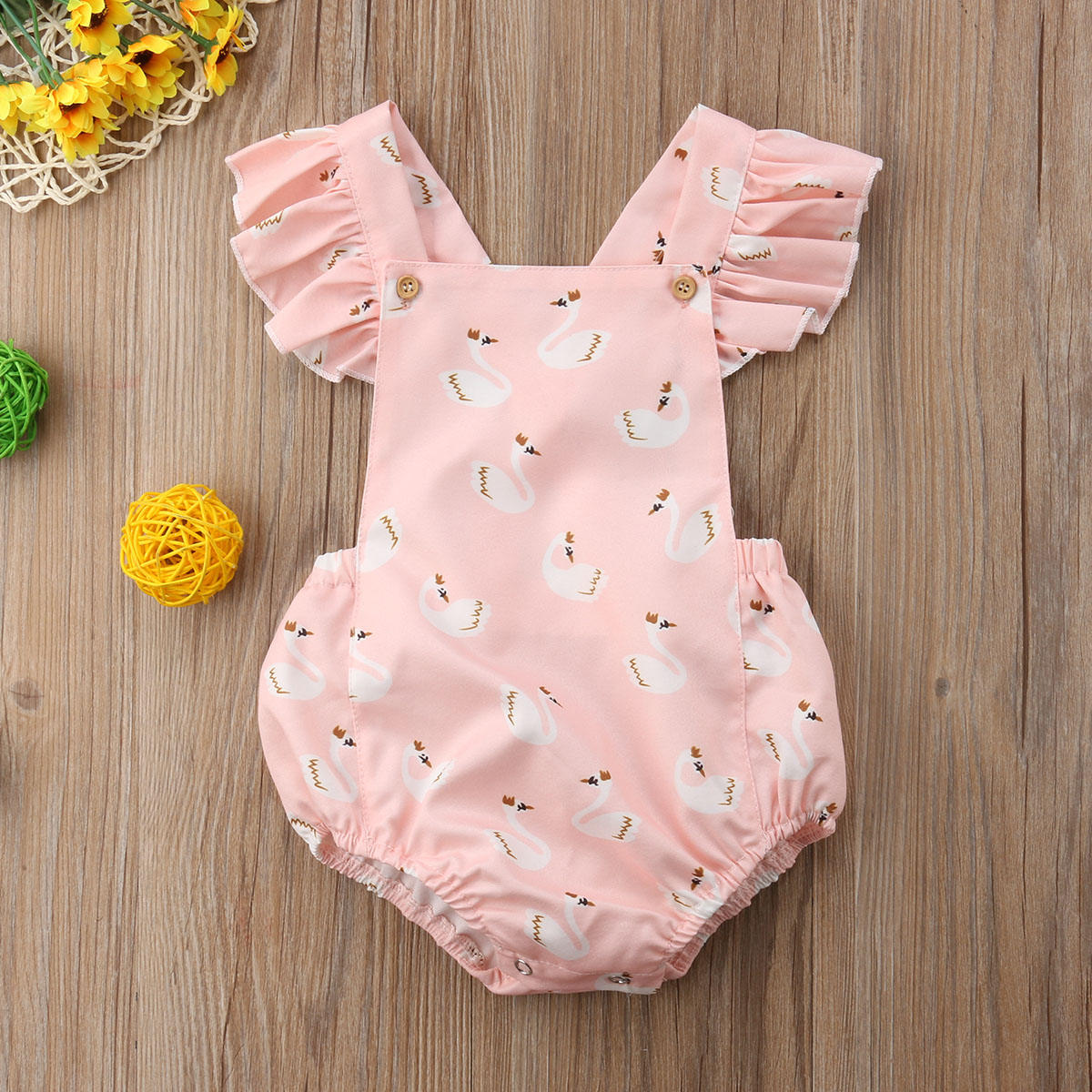 0-3T Cute Swan Ruffle Bodysuit For Newborn Baby Girl Outfit Clothes Summer