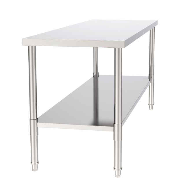 """72"""" Stainless Steel Galvanized Work Table 6"""
