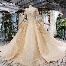 """HTL628 luksusowe suknie ślubne z długim rękawem i dekoltem w kształcie litery """"o"""" ciężkie handmade koralik suknie ślubne 2019 dziurka powrót vestido de novia con manga"""