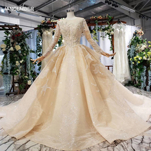 HTL628 יוקרה חתונה שמלות ארוך שרוול o צוואר כבד handmake חרוז חתונה שמלות 2019 keyhole חזור vestido דה novia קון מנגה