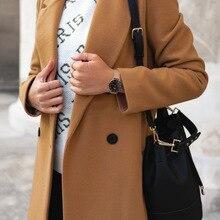 Сплошной цвет с длинным рукавом оба ряда пуговиц костюм свинца шерстяное Свободное пальто женщина Материнство