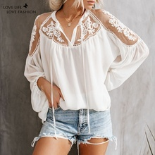 цена на Casual Loose V-neck Blouses Fashion Women Lace Patchwork Blouse Autumn Long Sleeve Shirts Blouses