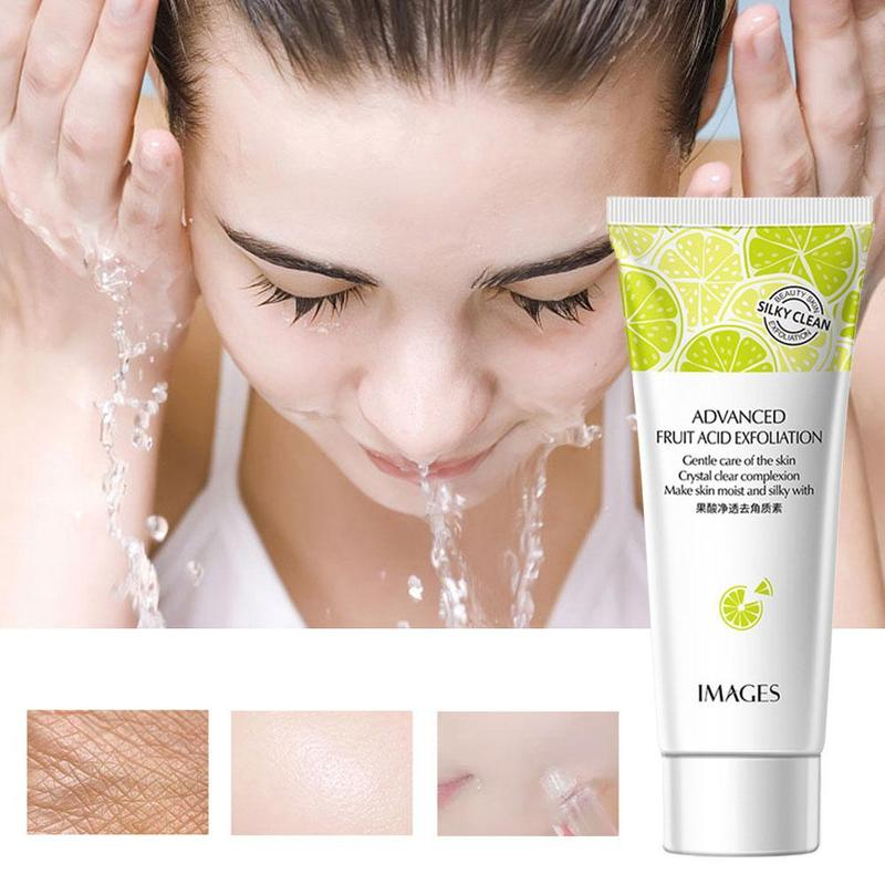 1PC Fruit Acid Deep Cleansing Exfoliating Peeling Gel Moisturizes Face Exfoliating Organic Facial Cream Scrub Cleaner