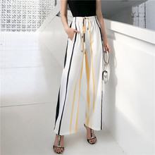Womens printed Pants Autumn 2019 Summer Chiffon Printing Nine Cusual Loose Yellow Blue Wide Leg 12H