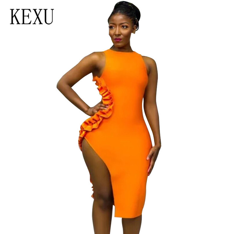 KEXU Fashion <font><b>Sexy</b></font> Solid Color Wooden Ear <font><b>High</b></font> <font><b>Slit</b></font> <font><b>Dress</b></font> <font><b>Sexy</b></font> Sleeveless Hollow Out Bodycon Bandage Women Vestidos Summer <font><b>Dress</b></font> image