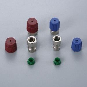 Image 4 - Adaptateurs droits avec noyau de Valve et bouchons de Port de Service R12 R22 à R134a