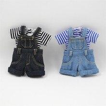 Kıyafetler için Blyth doll Denim tulum için 12 inç bebek ortak vücut serin tuvalet 1/6 BJD buzlu DBS