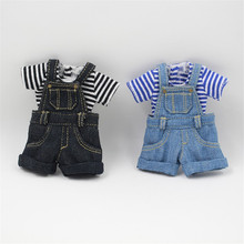 Outfits for Blyth doll Denim overalls for the 12 inch doll JOINT body cool dressing 1/6 BJD ICY DBS