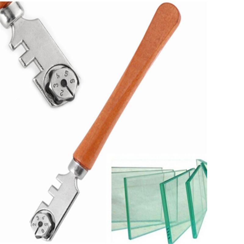 Multifunctional Portable Six-wheel Glass Cutter High-strength Roller Mahogany Round Flat Handle Glass Knife Craft Cutting Tool