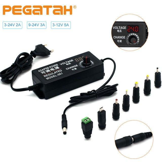 Регулируемый адаптер питания переменного тока в постоянный ток 9 V 24 V 3A Универсальный светодиодный Регулируемый источник питания adatpor