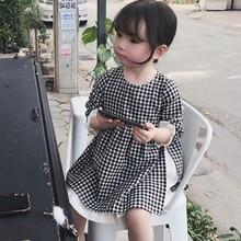 купить Children New Autumn Baby Girls Dress 1-7T Cute Toddler Girl Clothes Cartoon Plaid Print Temperament Sweet Princess Dress #23 онлайн