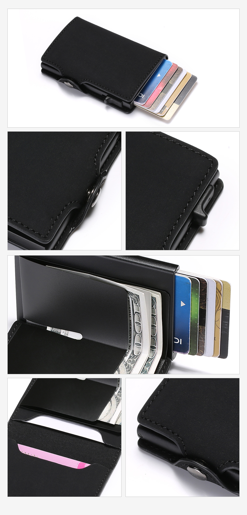 H0294ab564b784dd09a9cf5e77a6475e7t - BISI GORO Single Box Card Holder PU Leather Card Wallet New Men RFID Blocking Aluminum Smart Multifunction Slim Wallet Card Case