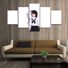 Home Decor Poster HD Pictures Prints Canvas 5 Piece Modular Bunny Schoolgirl DVA Overwatch Game Living Room Decorative Painting(China)