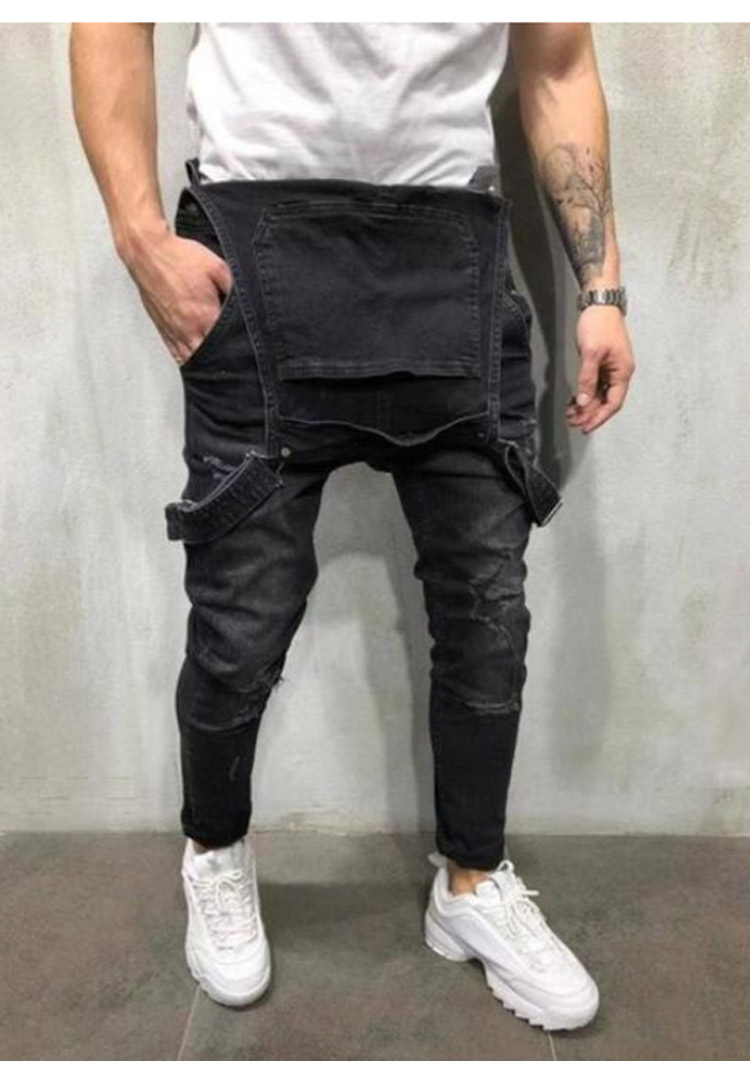 Men's Ripped Jeans Jumpsuits Work Coveralls Denim Bib Overalls For Male Retro Jeans Summer Sleeveless Protection Repairman (9)