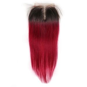 Image 4 - 1B 99J/ブルゴーニュ人間の髪のバンドル閉鎖kemy髪ブラジルストレートオンブル髪織りバンドルとともに 1 閉鎖 4 × 4 非レミー