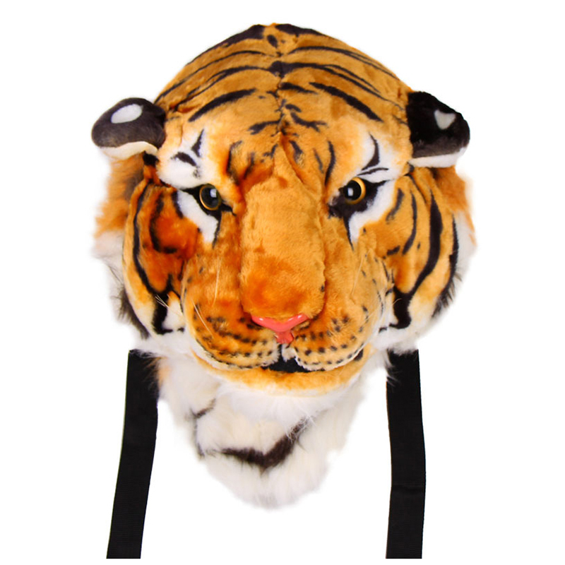 New Unisex Animal Style Lifelike 3D Tiger Head Bag Knapsack Backpack Womens Men Colors:Yellow