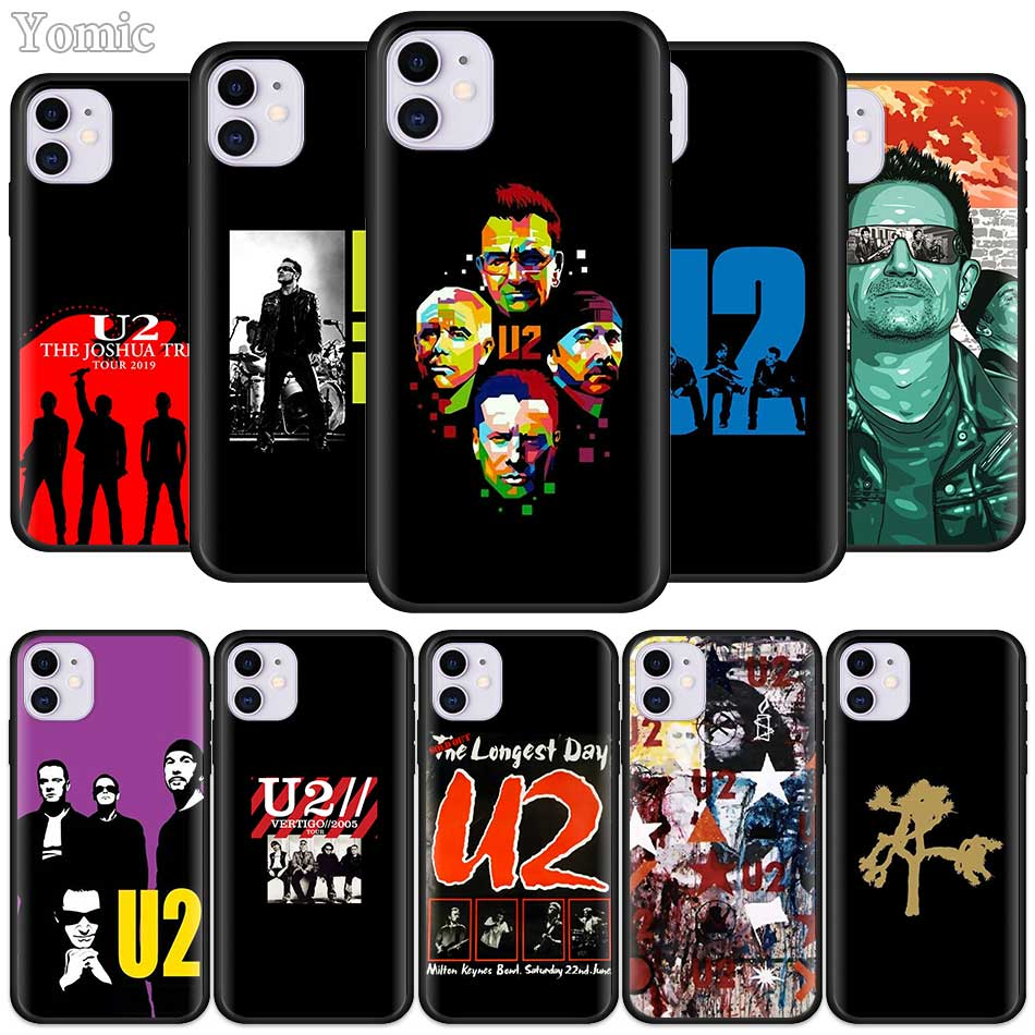 U2 Bono The Edge Case for Apple iPhone 11 Pro X XR XS MAX 8 7 6 6S Plus 5 5S SE Black Soft Silicone Phone Cover Shell image
