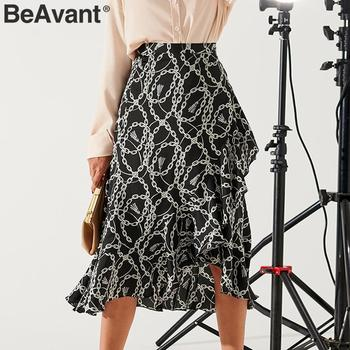 BeAvant Summer Midi Skirts Black Women 2020 Print Lace Up High Fashion Wrap Sexy Skirt Female Spring A Line Skirts Holiday Lady 2