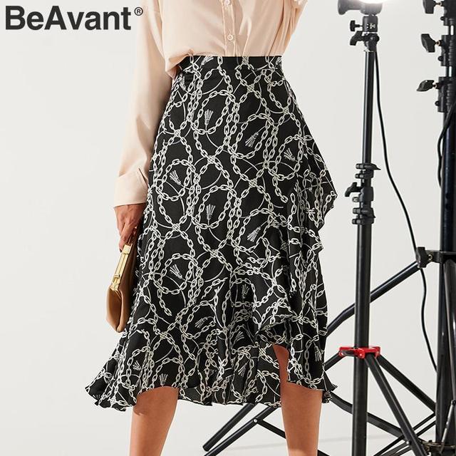 BeAvant Summer Midi Skirts Black Women 2020 Print Lace Up High Fashion Wrap Sexy Skirt Female Spring A Line Skirts Holiday Lady 2