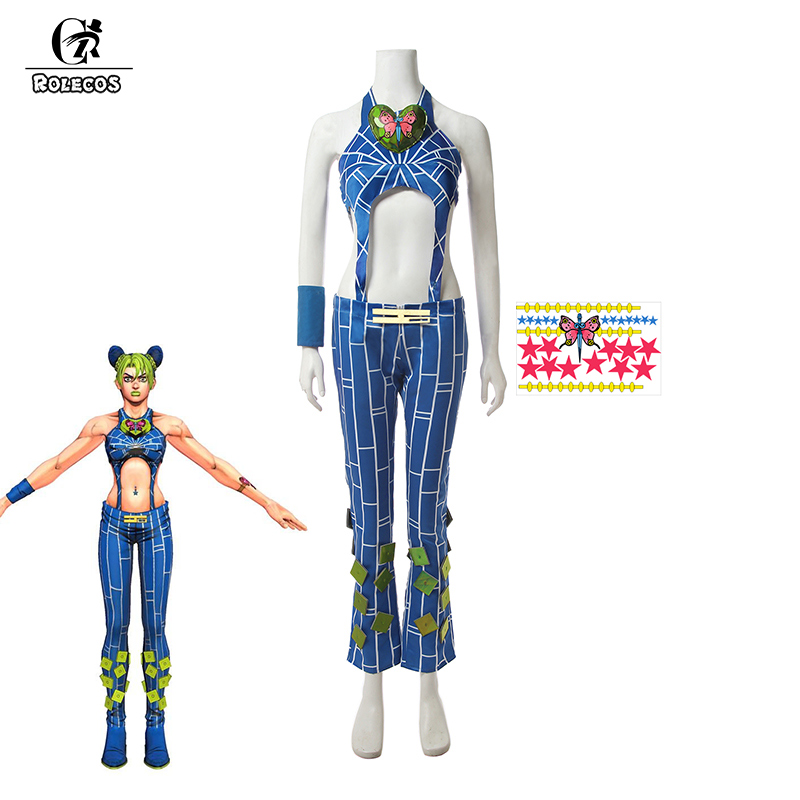 ROLECOS Anime JoJo's Bizarre Adventure Cosplay <font><b>Costume</b></font> Cujoh Jolyne <font><b>Women</b></font> <font><b>Sexy</b></font> <font><b>Costume</b></font> <font><b>Blue</b></font> Top Pants Full Set <font><b>Halloween</b></font> Party image