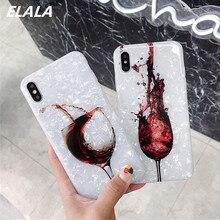 ELALA estuche de vino tinto para iphone 11 Pro Max contraportada suave silicona Concha teléfono Coque para iphone 6 6s 7 8 Plus XR X XS funda