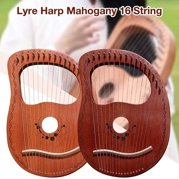 Lyre Harp 16 String Portable Small with Durable Musical Instrument Stable Sound