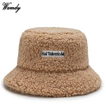Lamb Wool Knit Fisherman's Hat Adult Unisex Cap Fashion Outdoor Sun Travel Casual Pot Bucket Caps Girls Flat Top Hat
