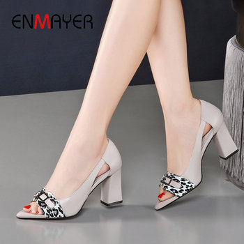 ENMAYER Sexy Leopard Print Square High Heels Peep Toe Women Sandals Basic 2020 Casual Slip-On Genuine Leather Women Shoes 34-40