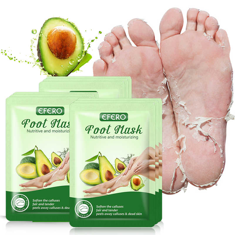 Efero máscara esfoliante para os pés, 3 pares, abacate, pedicure, anticraquela, removedor de cutícula, cuidados com os pés, máscara de descamação