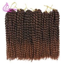 12Inch Marlybob Crochet Hair Afro Kinky Curly Crochet Braids Curly Twist Synthetic Braiding Hair Extensions 24strands pc cheap Refined Hair High Temperature Fiber CN(Origin) Marley Braids 24strands pack