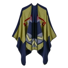 Ladies fashion wave grain split warm scarf in Europe and the personality shawl imitation cashmere cape traveling cloak