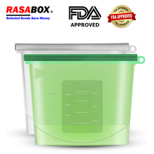 RASABOX - Food Storage & Organization Sets, Reusable Silicone Bags, Freezer for Snack Lunch Sandwich,  Airtight Seal