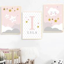 Nordic Posters And Prints Cartoon Cloud Stars Print Painting Personal Name Custom Pink Canvas Posters Baby Girl Bedroom Decor