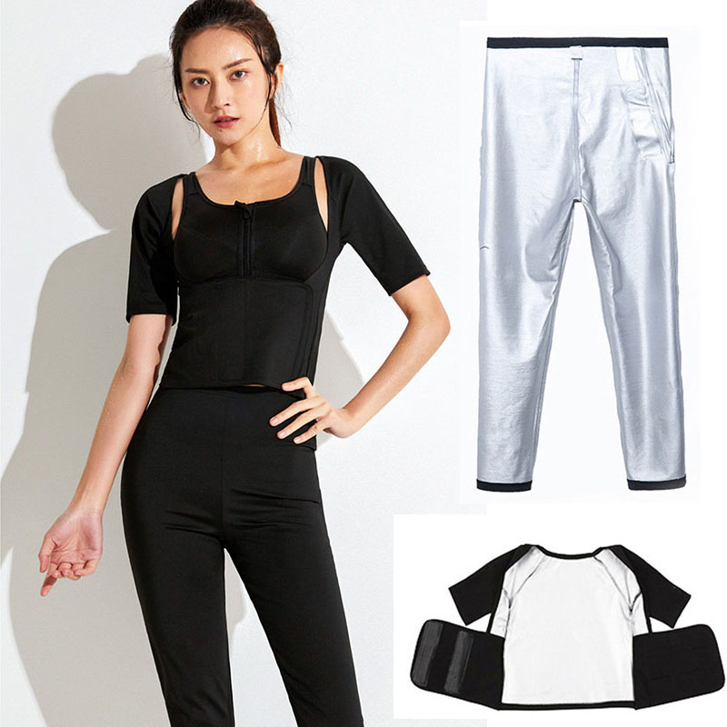 Women Yoga Sauna Suit Short Sleeve Pants Waist Trainer Belt Trimmer Weight Loss Sweat Suit Slimming Body Shaper Fitness Clothes